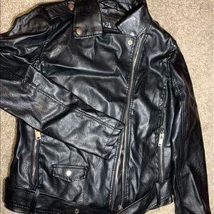 Black graphic leather biker jacket